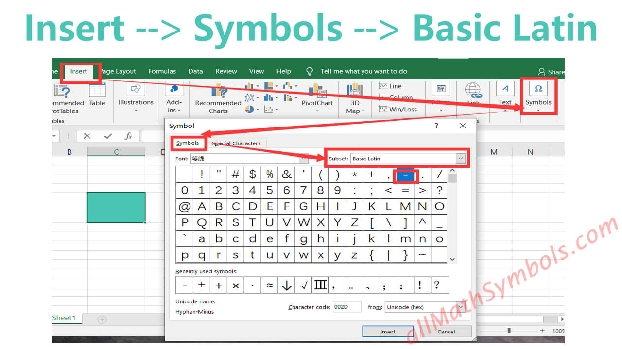 type minus symbol in word and excel