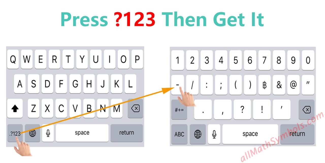 type minus symbol on Iphone