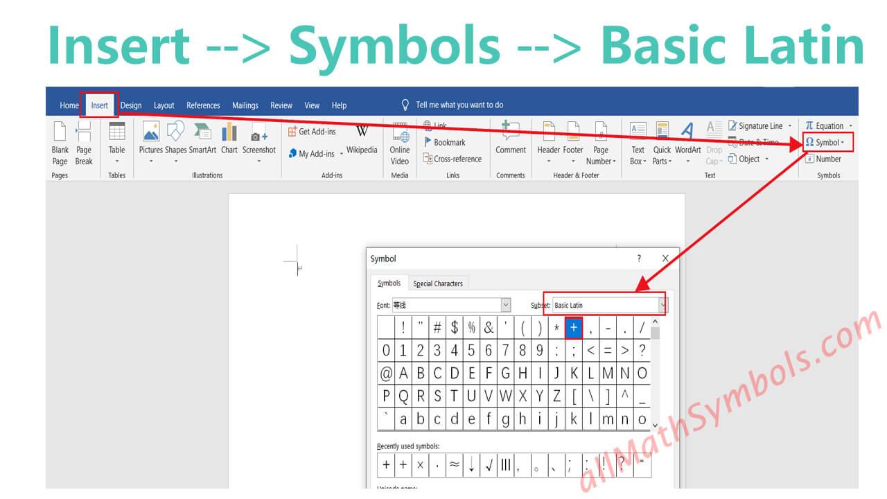 type plus symbol in word