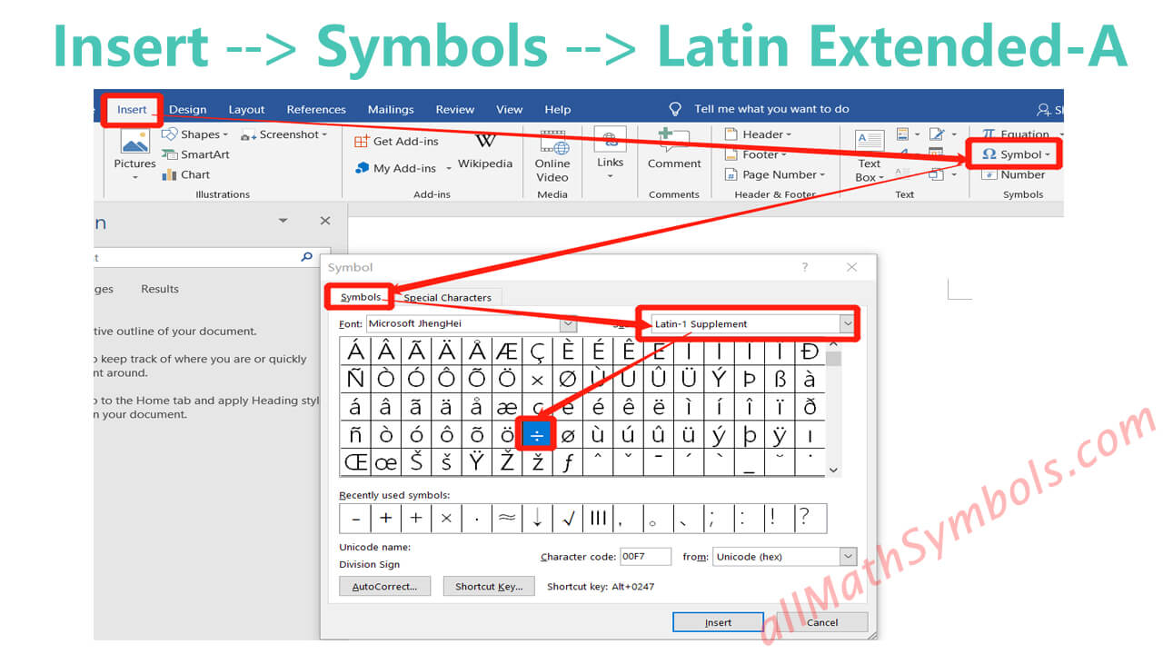 type division symbol in word