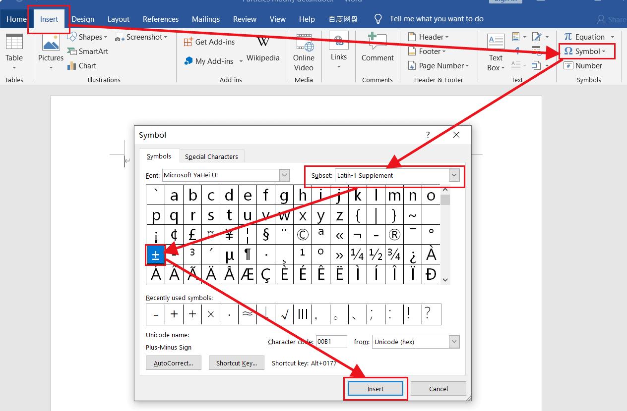 plus-minus sign-type plus-minus symbol in word or excel